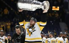 Penguins forward Phil Kessel raises the Stanley Cup after Pittsburgh beat Nashville in Game 6 of the Cup Final. (Photo courtesy of the Pittsburgh Penguins via Twitter)