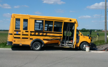 A damaged school bus is shown near the site of a crash at Nissouri Rd and Evelyn Dr near London International Airport on June 7, 2017 (Photo courtesy of Middlesex OPP)