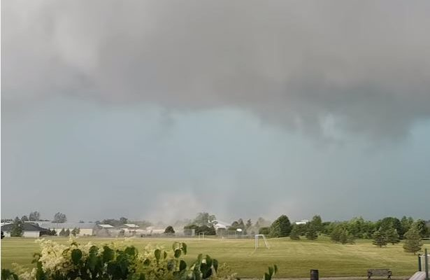 Screen shot of a YouTube video (by Rob Farrell) of possible tornado in Ilderton