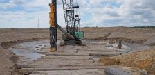 Equipment at a wind turbine construction site north of Chatham. (Photo courtesy of Water Wells First)