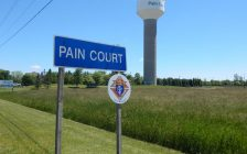 Pain Court sign. June 11, 2017. (Photo courtesy of 2018 International Plowing Match media release).