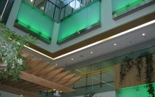 LHSC lights Victoria Hospital's atrium green for National Injury Prevention Day, July 5, 2017. Photo courtesy of Bärbel Hatje, LHSC.