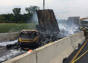 Emergency crews respond to a transport truck fire on Hwy. 401 in Chatham, July 13, 2017. (Photo courtesy of the OPP via Twitter)