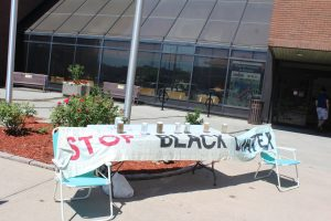 Water Wells First protest in front of Chatham-Kent Civic Centre. July 4, 2017. (Photo courtesy of Sarah Cowan Blackburn News Chatham-Kent).