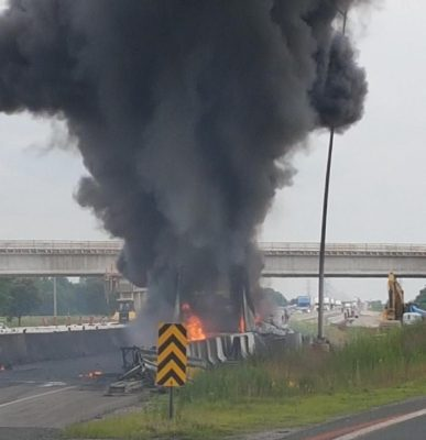 Emergency crews respond to a transport truck fire on Hwy. 401 in Chatham, July 13, 2017. (Photo courtesy of the OPP)