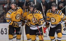 Travis Konecny celebrates a goal with his Sting teammates. (Photo by Metcalfe Photography)