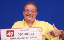 A Chatham man has won $50,000 in June 21's Ontario 49 draw. July 05, 2017. (Photo courtesy of OLG)