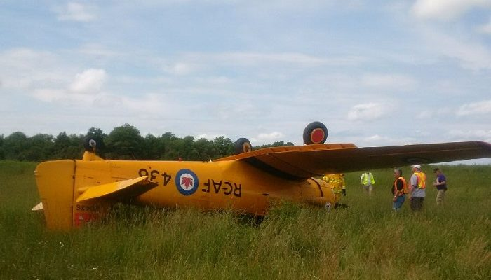 Overturned plane Sunday, July 9th at the Billy Bishop Regional Airport near Owen Sound. (OPP photo)