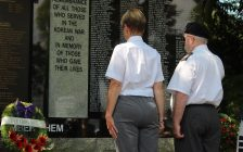 Silver Cross Mother Theresa Charbboneau lays a wreath at the Korean Vets Day Service in Dieppe Gardens in Windsor July 27, 2017. (Photo by Adelle Loiselle)