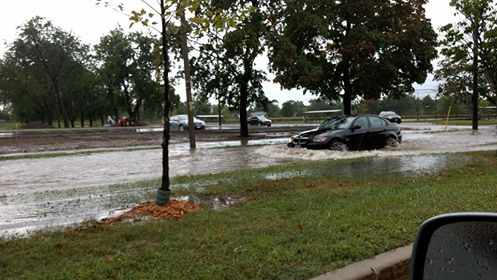 Windsor residents deal with widespread flooding in the city, August 29, 2017. (Photo courtesy of Heather Wight)