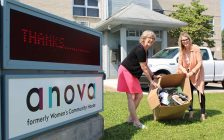 Anova Executive Director, Kate Wiggins and Brescia Director of Communications & External Relations, Colleen Aguilar at Anova. Photo courtesy of Brescia.