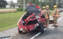 Emergency crews respond to a four-vehicle collision on Hwy. 24 near Waterford, August 1, 2017. (Photo courtesy of the OPP)