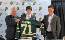 Dalton Duhart stands between London Knights coach Dale Hunter (left) and Knights GM Rob Simpson (right). Photo by Miranda Chant.