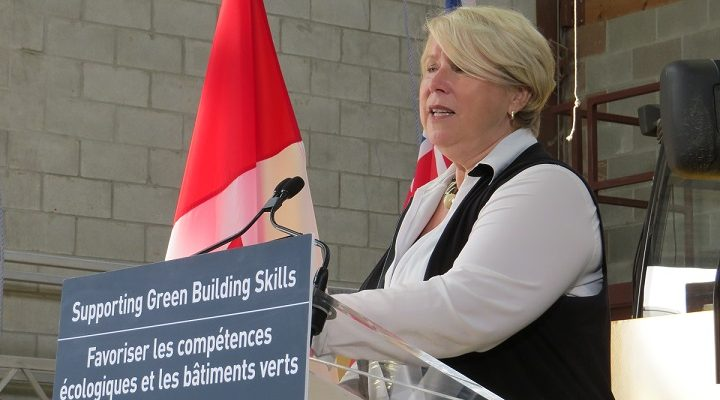 London North Centre MPP Deb Matthews makes a $24M announcement at the LiUNA Local 1059 Region Training Centre on Firestone Blvd., August 10, 2017. (Photo by Miranda Chant, Blackburn News.)