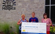 Chatham-Kent Hospice cheque presentation with Connie Santavy, Rhys Dulisch and Jodi. Aug 23, 2017. (Photo provided by Chatham-Kent Hospice)