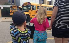 Students from JK to Grade 1 learn the importance of school bus safety in Sarnia. BlackburnNews.com file photo by Melanie Irwin