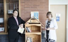 Andrew Tompsett (L) and CKHA President Lori Marshall (R) standing with CKHA's new Little Free Library. August 16, 2017. (Photo courtesy of Lori Marshall).