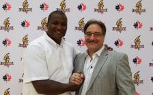 Photo of new London Lighting coach Keith Vassell and team owner Vito Frijia from Twitter @LondonLightning