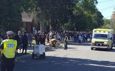 """Photo of street party on """"fake Homecoming"""" weekend from Twitter @lpsmediaoffice"""