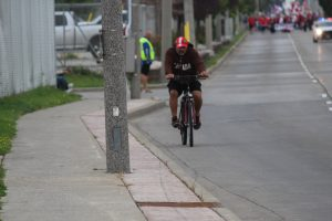A cyclist on Walker Rd. September 4, 2017 (Photo by Adelle Loiselle)