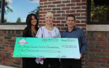 Proceeds from the Drive Out Cancer golf tournament presented to the Windsor Essex Cancer Centre Foundation, September 8, 2017. (Photo by Maureen Revait)
