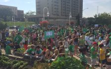 Hundreds of students from Sarnia's french language schools celebrate Franco-Ontarian Flag Day. September 25, 2017 (Photo by Melanie Irwin)