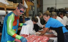 Captain Positive at Roesch Meats and More on Agriculture Day. September 5, 2017. (Photo by Sarah Cowan Blackburn News Chatham-Kent).
