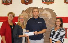 Farm Credit Canada presents cheque for $1,000 to Victor Lauriston Public School. September 6, 2017. (Photo by Sarah Cowan Blackburn News Chatham-Kent).