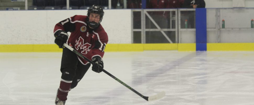 Chatham Maroons defenceman Keegan MacVoy. (Photo by Matt Weverink)