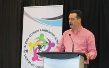 Stu Saunders, chair of the Global Student Leadership Summit, announces the three-day event will come to the London Convention Centre in April 2018. (Photo by Miranda Chant, Blackburn News)