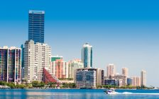 The Miami skyline view from Key Biscayne. (© Can Stock Photo / wmiami)
