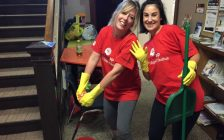 Tracey Bolton and Hilary Pincombe from Farm Credit Canada in Wyoming do odd jobs and cleaning at the Lochiel Kiwanis Centre as part of the Day of Caring. September 12 , 2017 (Photo by Melanie Irwin)