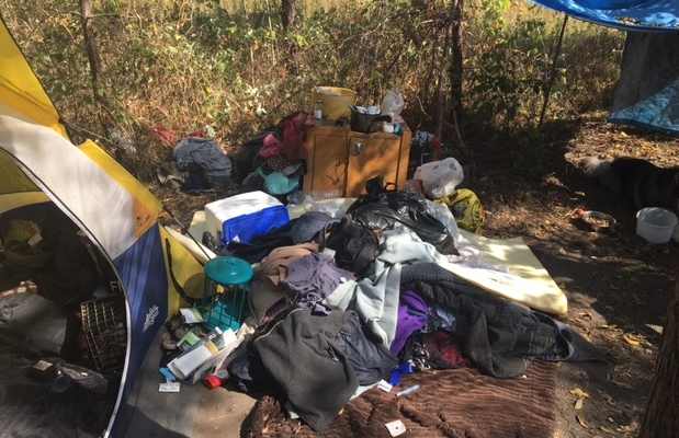 A small tent city set up on the Canadian National Railway property west of Flora St. in St. Thomas. Photo courtesy of St. Thomas Police.