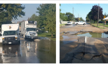 Watermain break on Colborne Rd. in Sarnia September 26, 2017 (Photos courtesy of Sarnia Police)