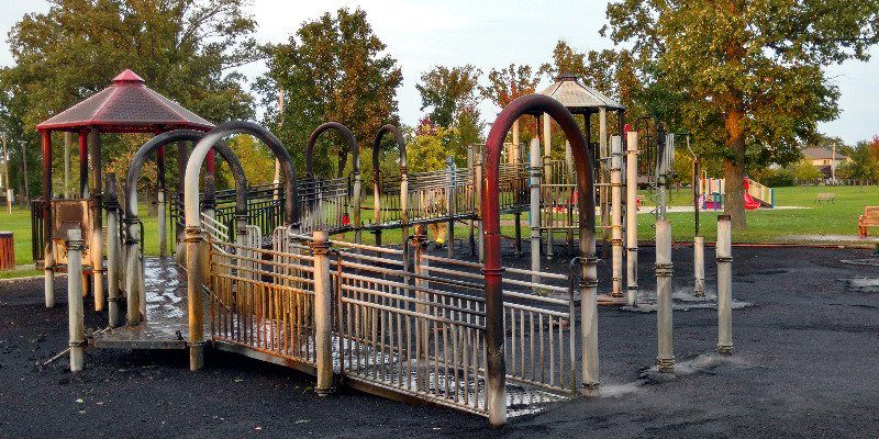 Playground equipment smolders after it was set on fire in Lacasse Park in Tecumseh, October 10, 2017. (Photo by Mark Brown, BlackburnNews.com)