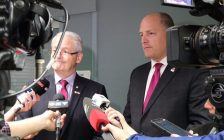Canada's Transport Minister Marc Garneau and Windsor Mayor Drew Dilkens take questions from the media, October 20, 2017. (Photo courtesy of Drew Dilkens via Twitter)