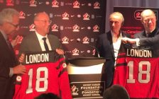 Hockey Canada CEO Tom Renney, Mayor Matt Brown, Hockey Canada Foundation Chair Barry Lorenzetti, and London host organizing committee chair Jeff Macoun. Photo by Scott Kitching.