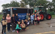 Madame Therien's Grade 7 french immersion class at Errol Rd. Public School in Sarnia celebrate a successful food drive. October 11, 2017 (Photo by Melanie Irwin)