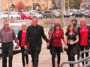 The family of Adam Kargus walk to the London courthouse for the sentencing of his killer. (Photo by Miranda Chant, Blackburn News)
