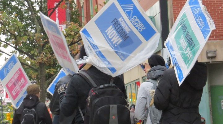Striking members of Ontario Public Service Employees Union Local 110 picket outside of Fanshawe College's Centre for Digital and Performing Arts in London, October 24, 2017. (Photo by Miranda Chant, Blackburn News)