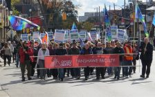 Striking faculty from Fanshawe College march down Richmond St., October 26, 2017. (Photo by Miranda Chant, Blackburn News)