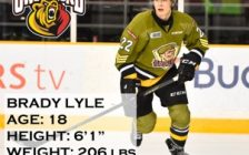 Defenceman Brady Lyle was traded to the Owen Sound Attack. Photo by Aaron Bell/OHL Images. Graphics by the Owen Sound Attack.