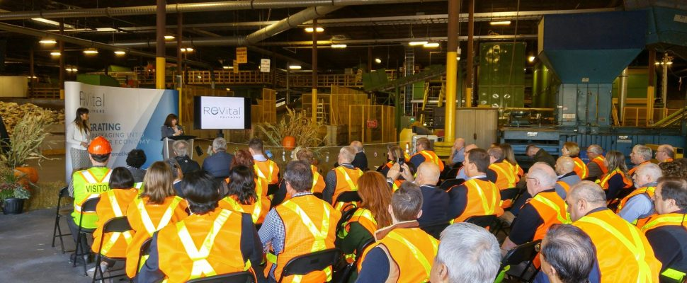 Carol Hochu, President and CEO of the Canadian Plastics Industry Association, speaks at grand opening for ReVital Polymers recycling facility. October 20, 2017 (Photo by Colin Gowdy)
