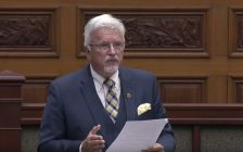 Chatham-Kent-Essex MPP Rick Nicholls at the Ontario Legislature, October 4, 2017. (Photo courtesy of the Ontario Legislature via YouTube)