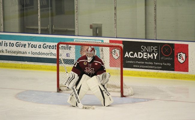 Chatham Maroons goaltender Ryan Wagner. October 7, 2017. (Photo by Matt Weverink)