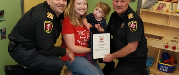From left: CKFES Assistant Chief Scott Ramey, Patricia Jones, Sarah Haven, CKFES Chief Ken Stuebing. (Photo courtesy of the Municipality of Chatham-Kent)