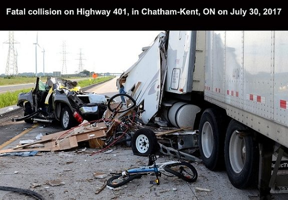 The scene of a fatal crash on the Hwy. 401 near Dillon Rd. July 30, 2017. (Photo courtesy of OPP)