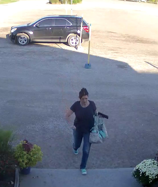 Chatham-Kent police say this woman is accused of stealing $100 worth of merchandise from Parks Blueberries. (Photo courtesy of Chatham-Kent police)