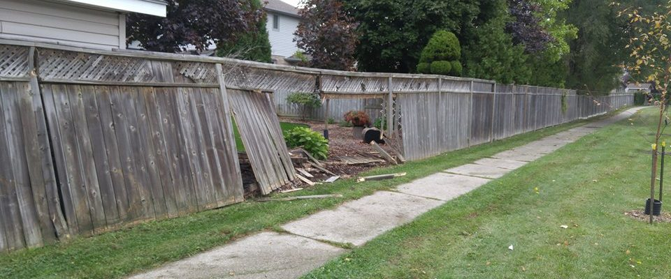 Damage to fence on Finch Dr. in Sarnia October 6, 2017 (Photo by Colin Gowdy)