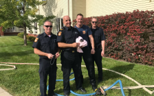 Sarnia Fire and Rescue Services Engine 1 crew members Troy Hewton, Captain Todd MacDonald, Mark Lablance and Ben Lauwers save a kitten from a sewer. October 19, 2017 (Photo courtesy of @SarniaFire Twitter)